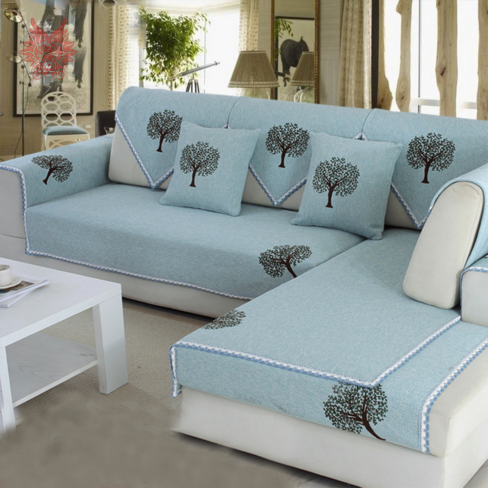 pastoral style blue green with plant printed sofa slipcovers cotton furniture covers sectional couch covers capa