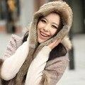 2015 Pele De Coelho Inverno Russo Chapéus de Esqui Quente Lenço da Pele Wraps Capuz Chapéu Gorro de Pele de Coelho Natural Para A Mulher Lenços atacado