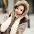 2015 Russian Winter Rabbit Fur Hats Warm Ski Fur Scarf Wraps Hood Natural Rabbit Fur Hat Cap For Woman Scarves Wholesale