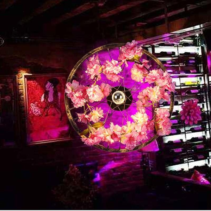 Novelty Art Deco wall lamps pink artificial flower wall sconces decorative ferris wheel bar restaurant cafe fashion wall lights