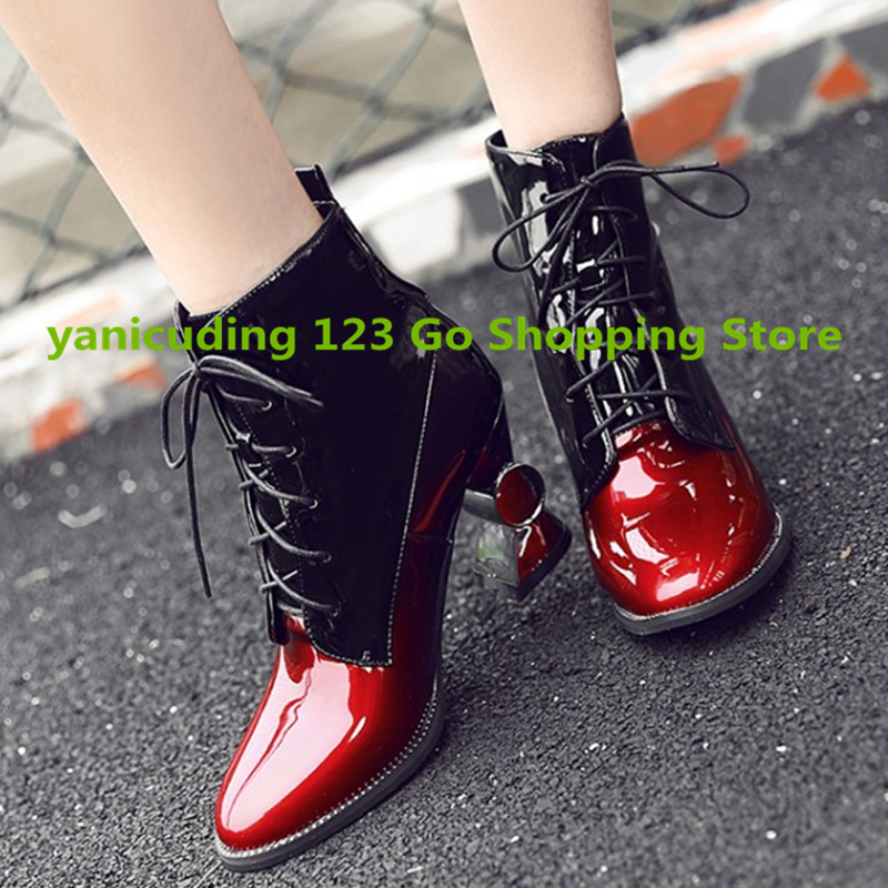 Black Red Patent Leather Women Ankle Boots Strange Heel Front Lace Up Women Winter Shoes Short Booties Square Toe Mixed Color fall flat black waterproof 2017 women shoes retro front lace up casual ankle boots autumn patent leather chunky booties vintage