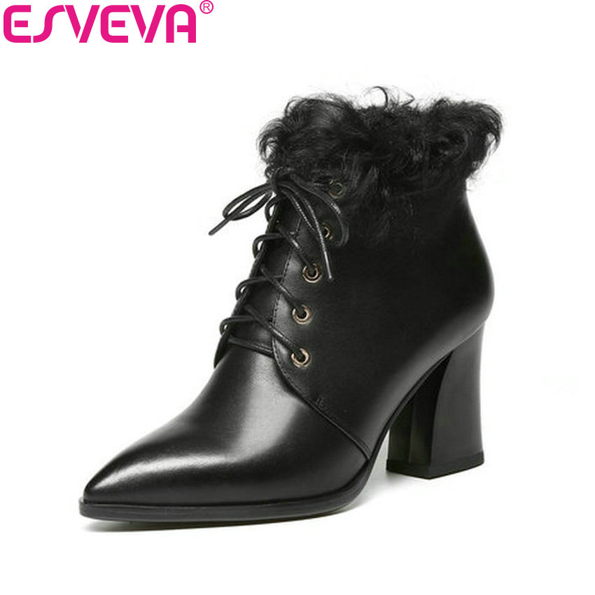 ESVEVA 2017 Women Boots High Heel Classic Short Plush Ankle Boots Pointed Toe Cow Leather+PU Square Heel Ladies Boots Size 34-39 esveva 2018 women boots short plush pu lining elastic band pointed toe square high heels ankle boots ladies shoes size 34 39
