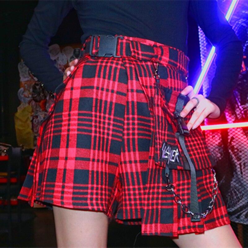 Japanese Harajuku Plaid Punk Skirt Belt Waist Chain Pleated Short Skirt Pants