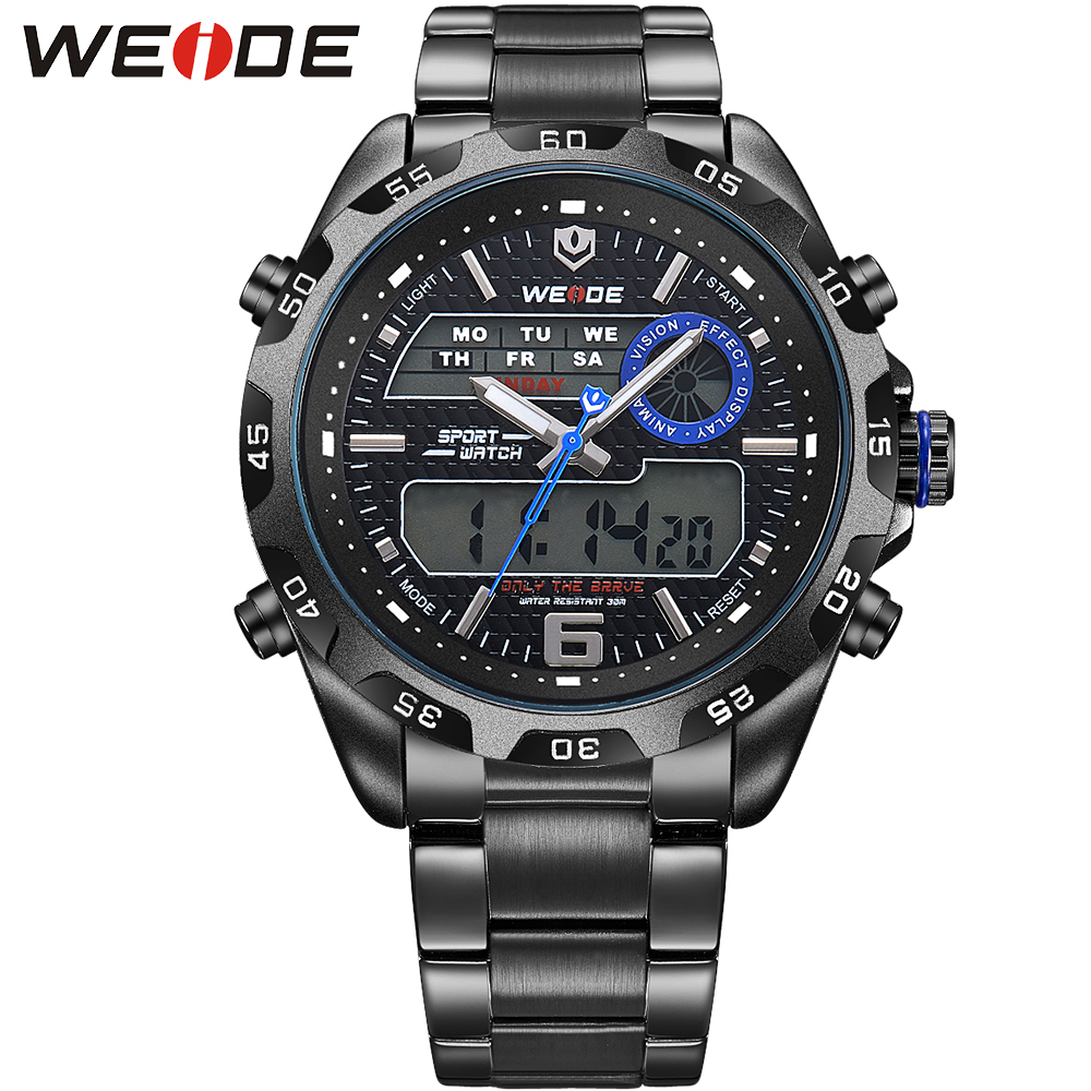 WEIDE Brand Sport Watch Quartz Analog LCD Digital Stainless Steel Band Date Day Black Dial Alarm Military Men Watches / WH3403 weide casual genuine luxury brand quartz sport relogio digital masculino watch stainless steel analog men automatic alarm clock