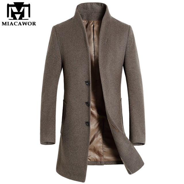 25ed31c95808 2018 New Winter Men Wool Trench Coat Men Long Trench Slim Fit Overcoat High  Quality Men Coats Fashion Trench Outerwear MJ340