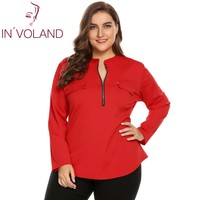 IN'VOLAND Grande Taille XL-5XL Femmes Chemisier Blusas Tops Printemps Automne Col montant À Manches Longues Zip-up Grand Pulls Plus taille