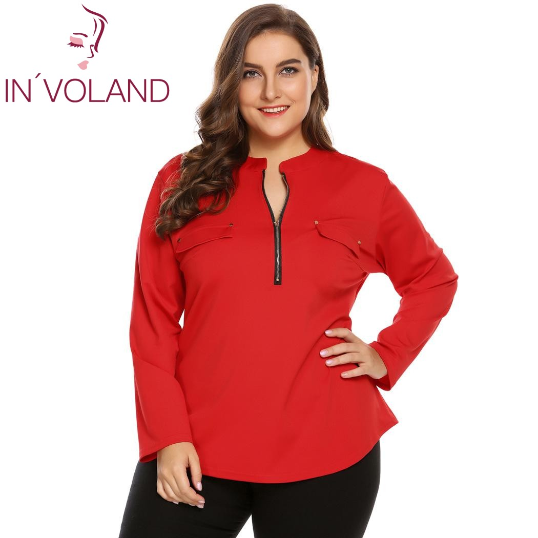 IN VOLAND Big Size XL 5XL Women Blouse Blusas Tops Spring Autumn Stand Collar Long Sleeve