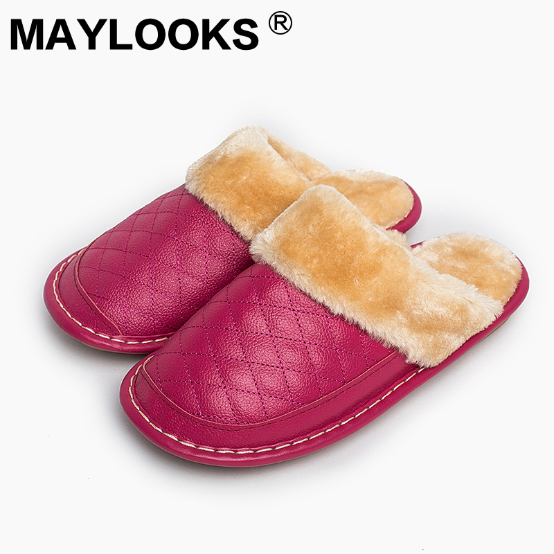 Ladies Slippers Winter Genuine Leather Thick With Plush Home Indoor Non-slip Thermal Woman Slippers 2018 New H Maylooks M-8828 plush home slippers women winter indoor shoes couple slippers men waterproof home interior non slip warmth month pu leather