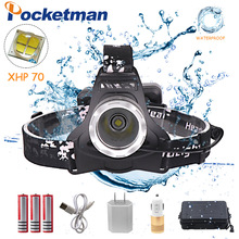 Pocketman LED headlamp fishing headlight 4000lumen XHP70 Zoomable lamp Waterproof Head Torch flashlight Headlamp use 18650