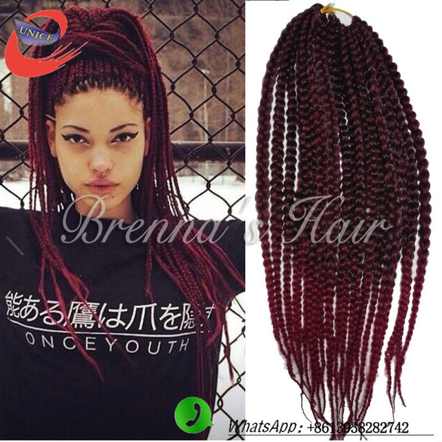 braiding hair ombre black to red 20strands box braids hair crochet ...