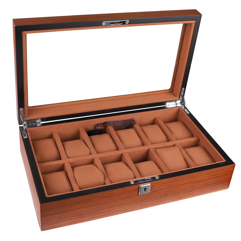 12 Grids High Quality Wooden Rectangular Watch Box Ladies Jewelry Box Brown Watches Case