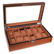 12 Grids High Quality Wooden Rectangular Watch Box Ladies Jewelry Brown Watches Case