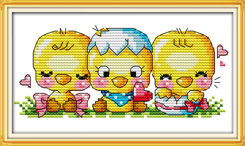 The chicken sit in rows, counted printed on fabric DMC 14CT 11CT Cross Stitch kits,embroidery needlework Sets Home Decor