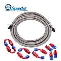 ESPEEDER AN6 Swivel PTFE Hose End Fitting Straight 45 90 180Degree+5M Fuel Line Aluminum Hose PTFE Hose End Silver