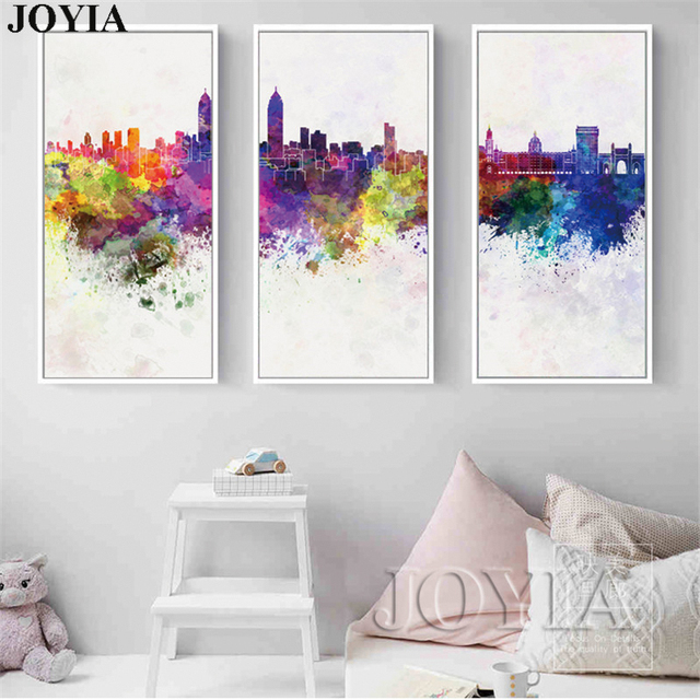 3 Piece Abstract City Skyline Canvas Art Watercolor Cityscape Silhouette  Wall Pictures Home Office Decor Digital