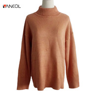 Vancol 2017 Autumn Long Sleeve Turtleneck Heap Pullovers Women Orange Poncho Winter Sweater Loose Long Top