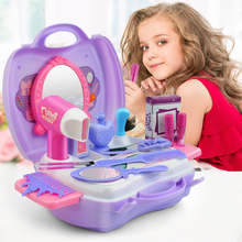21 pcs Beauty Make Up Toys Set For Princess Girls Comb Mirror Hair Dryer Educational Pretend Play Cosmetics Toy for Kids