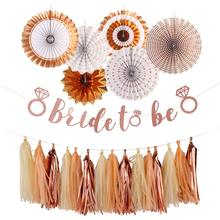Rose Gold Bride to be banner Tissue Paper Tassels Garland set Fans Foil Hanging Bachelorette Party Supplies