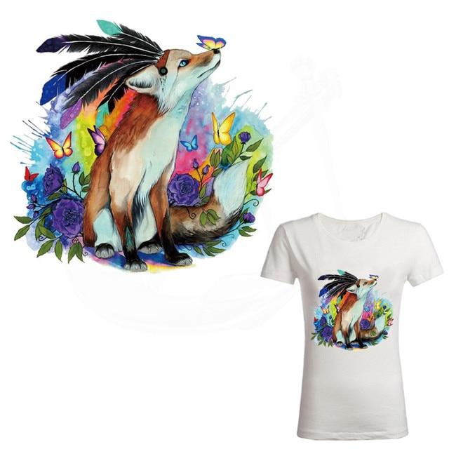 Американских индейцев стиль лисы и бабочка железа на патчи для одежды DIY Футболка куртка с капюшоном Класс-Термальность передачи наклейки