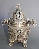 9 China Silver Three Foot Elephant Head Incense Burner Statue
