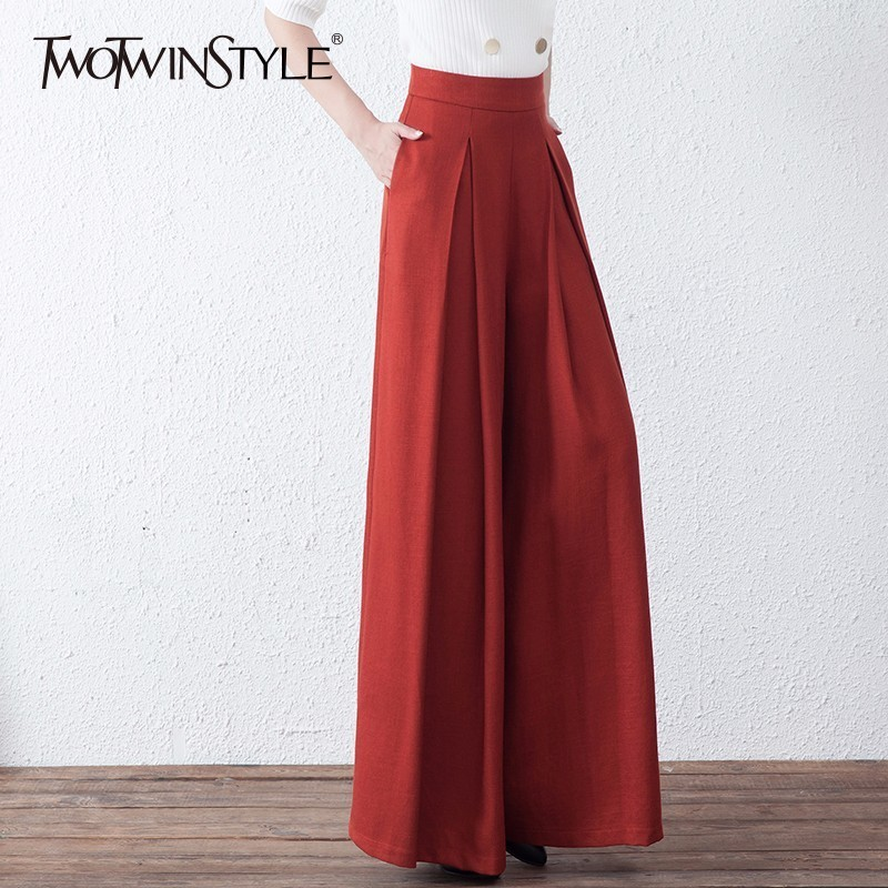 TWOTWINSTYLE Ruched Wide Leg Pant For Women High Waist Zipper Plus Size X Long Trouser Female 2020 Spring Fashion OL Clothing