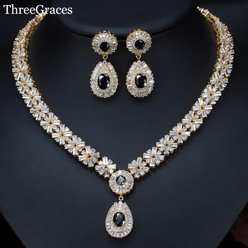 Boucles d'oreilles en zircon cubique noir de luxe pour femmes américaines, collier de bijoux de mariage, couleur or JS031