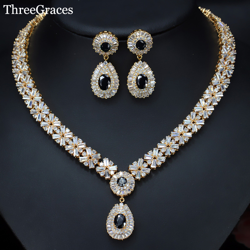 ThreeGraces Luxury American Women Black Cubic Zirconia Dangle Earrings Necklace Wedding Jewelry Set With Gold Color JS031 цены онлайн
