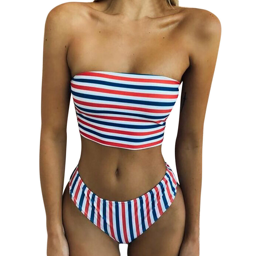 Womail stripes Swimwear Women 2018 Sexy Bandeau Bikini Set Swimsuit Push Up Padded Bra Swiming suit maio feminino praia #YY14