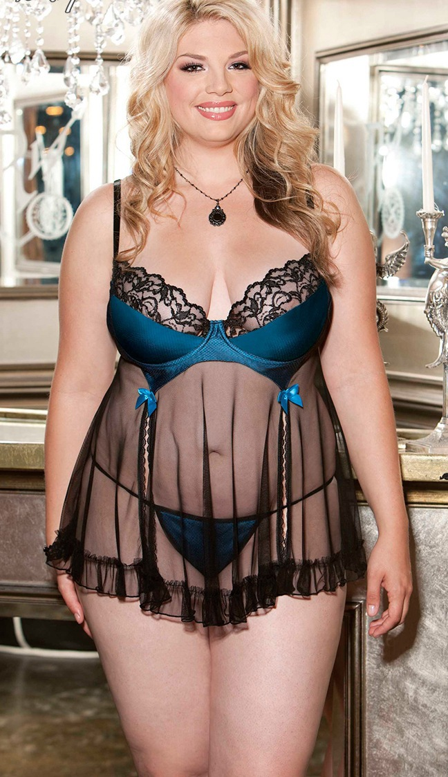 Two Piece Satin With Net Overlay Lace Babydoll Plus Size