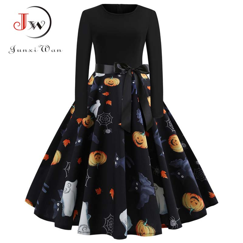 Halloween Vintage Dress Women Pumpkin Print Patchwork Midi Autumn Winter Dresses Long Sleeve Elegant Party Dress Plus Size 2