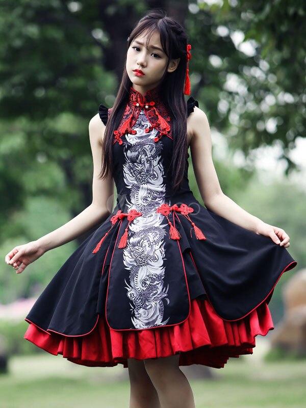Multicolor Rayon Tassels Lolita One Piece Lolita One Piece Dress Sleeveless Plum Blossom Printed Lolita Dress