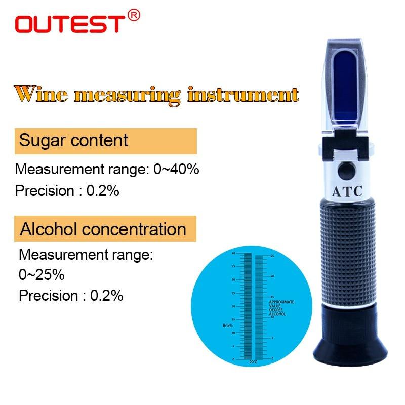 Numérique Réfractomètre d'alcool 0-40% vin concentration tester0-25 % densimètre pour l'alcool mètre mètre de Sucre RZ128