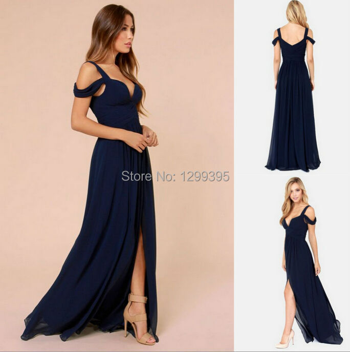 Navy Blue Long Bridesmaid Dresses For Weddings Prom Dress V Neck With Y Side Vestido De Madrinha Casamento Longo In From
