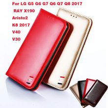цена на Case For LG G5 G6 G7 Q6 Q7 Q8 2017  RAY X190 Aristo2 K8 2017 V40 V30 Classic PU Leather Wallet Flip Case Cover Phone Coque