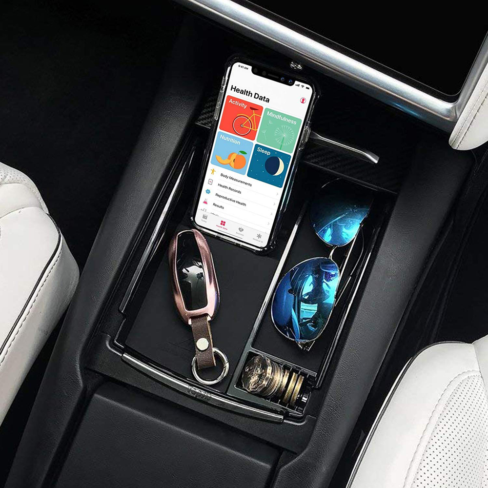 US $28 95 |Car Center Console Organizer Armrest Storage Box Tray Built in  Qi Wireless Charger for Tesla Model X Model S Qi Charger-in Car Chargers