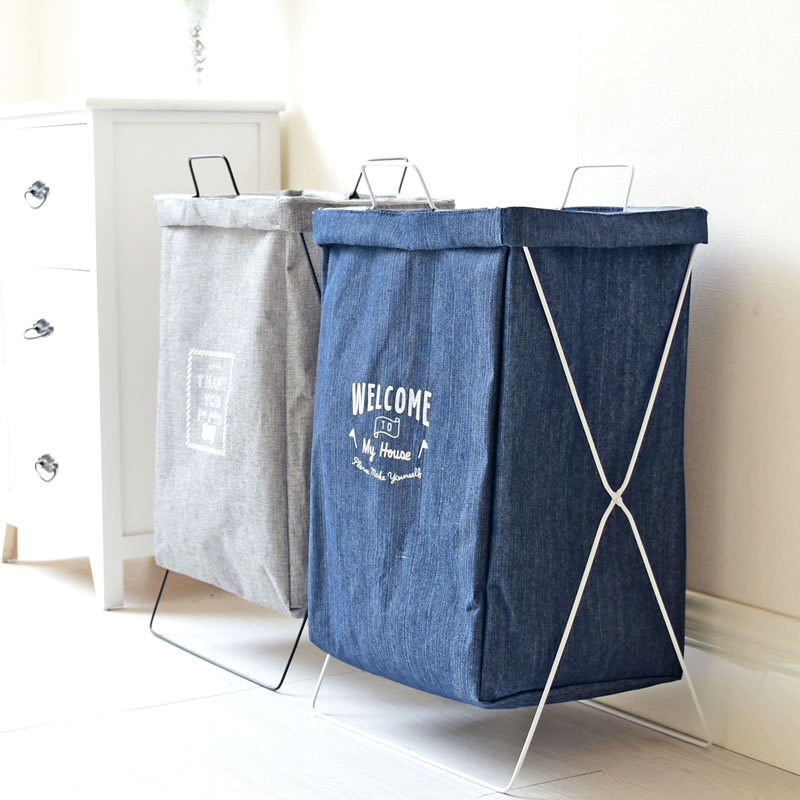 Cotton and Linen Bathroom Dirty Clothes Storage Bag Foldable Clothes Toys Creative Thickened Storage Laundry Basket