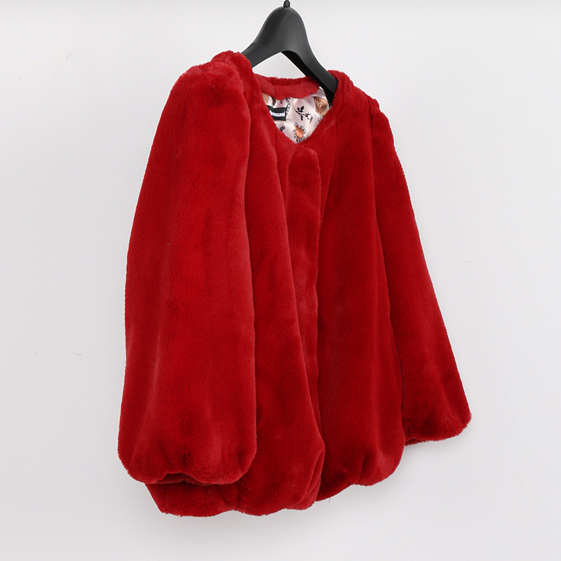 Nerazzurri Short  Faux Fur Coat Women 2019 Puff Sleeve Soft Plus Size Cropped Top Pink Red Black Colored Fake Rabbit Fur Jacket