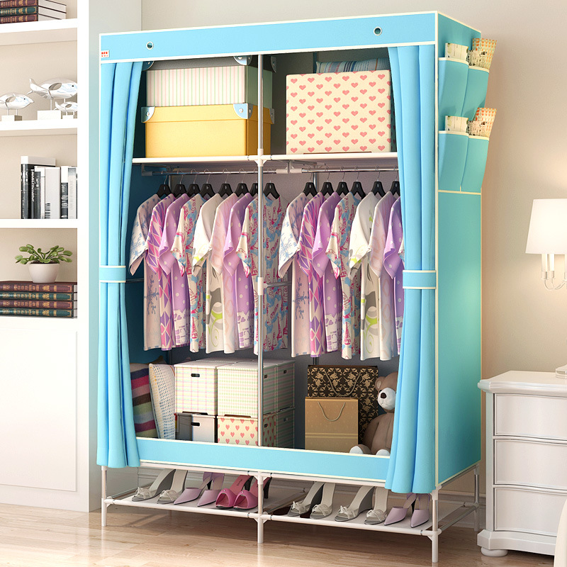 Non Woven Bedroom Wardrobe Durable Water proof Steel Pipe Closet ...