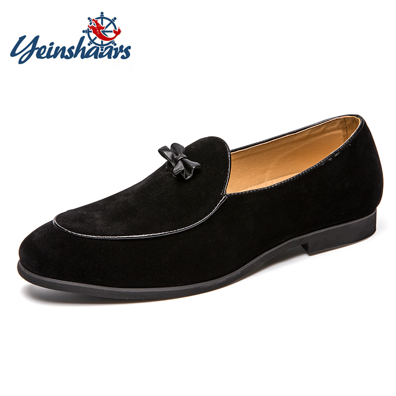 YEINSHAARS Mens Loafer Breathable Genuine   Leather   Handmade Mens Elegant Slip-on Casual Flats Black Gray Boat Luxury   Suede   Shoes