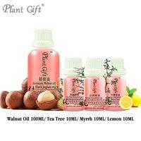 100% Pure Plant Base Oils Germany Henry Macadamia 100ml Massage Oil Walnut / Tea Tree / Myrrh / Lemon Oil DIY Soap Raw Materials