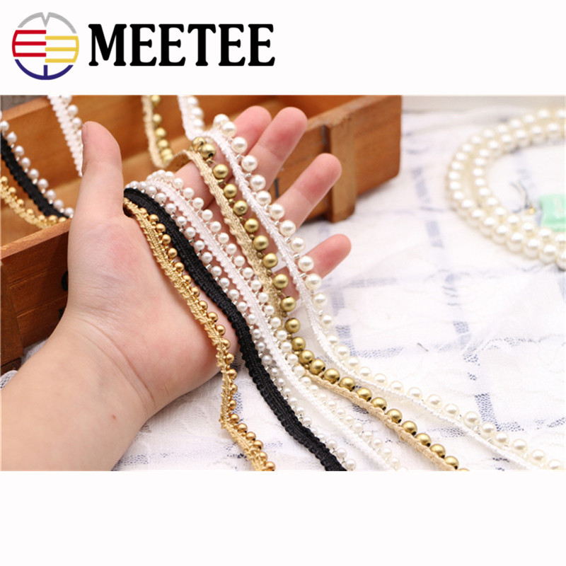 5yards Vintage 1cm Gold Pearl Beaded Embroidered Lace Trim Ribbon Fabric Handmade DIY Costume Dress Sewing Supplies Craft ZK844 in Lace from Home Garden
