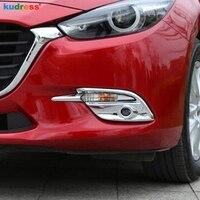 Für Mazda 3 M3 Axela 2017 2018 ABS Chrom Auto Front Nebel Licht Lampe Abdeckung Moulding Trim Protektoren Zubehör 2 teile/satz-in Chrom-Styling aus Kraftfahrzeuge und Motorräder bei
