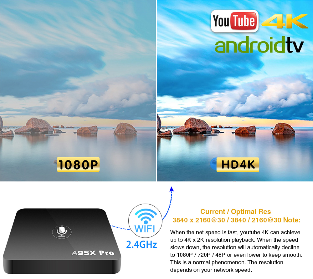 Google Smart TV Box A95X Pro 2G 16G Smart TV Android 7.1 TV Box commande vocale Amlogic S905W WiFi box tv Media Player PK mi box-in Décodeurs TV from Electronique    3