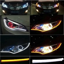 2Pcs 45CM 60CM 85CM Sequential Flowing Angel Eyes DRL Flexible LED Tube Strip Daytime Running Light  Tear Turn Signal Car Stylin
