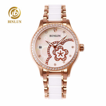 BINLUN Luxury Carved Watches for Women Flower Dial Lady's Automatic Mechanical Watch with Ceramic Band Diamond Decoration Casual