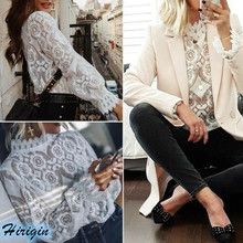 Summer Women Tops 2019 New Casual Solid Long Sleeve Turtleneck Lace Hollow Out Size S-XL
