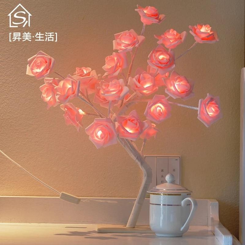 9Pig 24 шт. светодиодный ночник для спальни с белыми и розовыми розами, Настольный светильник, домашний декор, имитация дерева, Рождественская, Свадебная вечеринка
