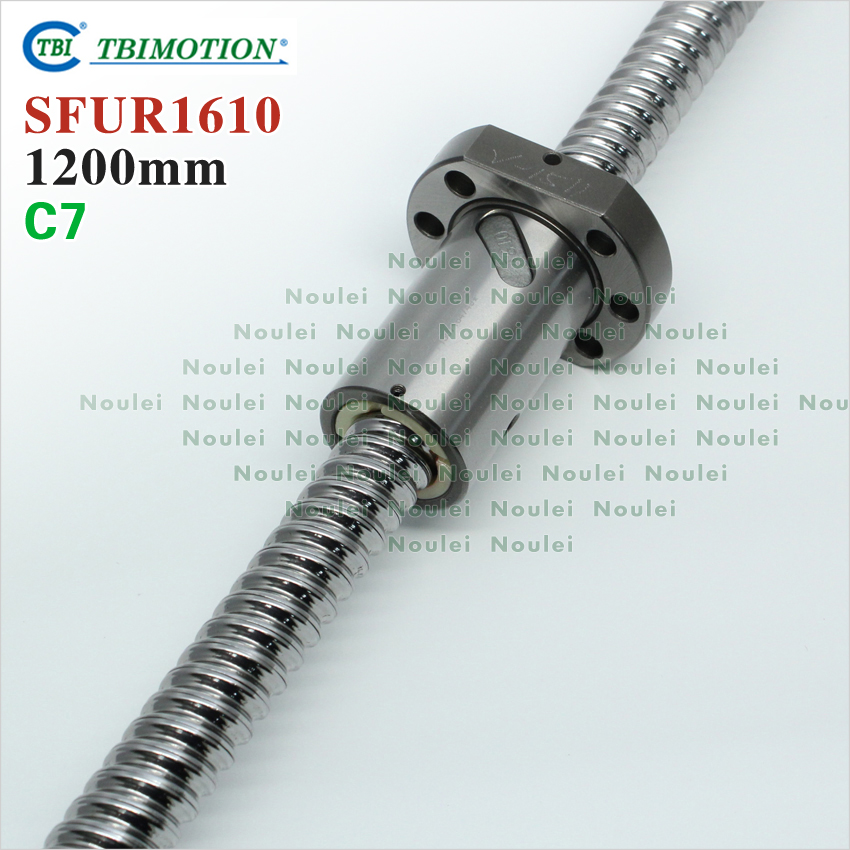 TBI 1200mm rolled ballscrew with SFU1610 ball nut 10mm lead screw 1610 + end machined for CNC router parts sfu1610 silver tone metal 10mm lead 300mm length ball screw
