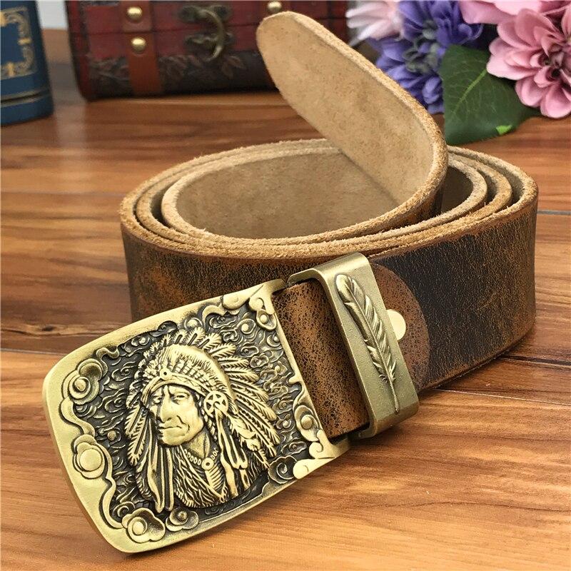 Brass Chief Cowboy Belt Buckle Men Leather Belt Jeans Belts Men Leather Metal Waist Belt Leather Strap Man Cinturon MBT0070