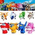 8 unids/set Alas Súper Mini Avión Robot Figuras de Acción Súper Ala Modelo de Transformación de Dibujos Animados Anime Figuras Kid Juguete de Regalo